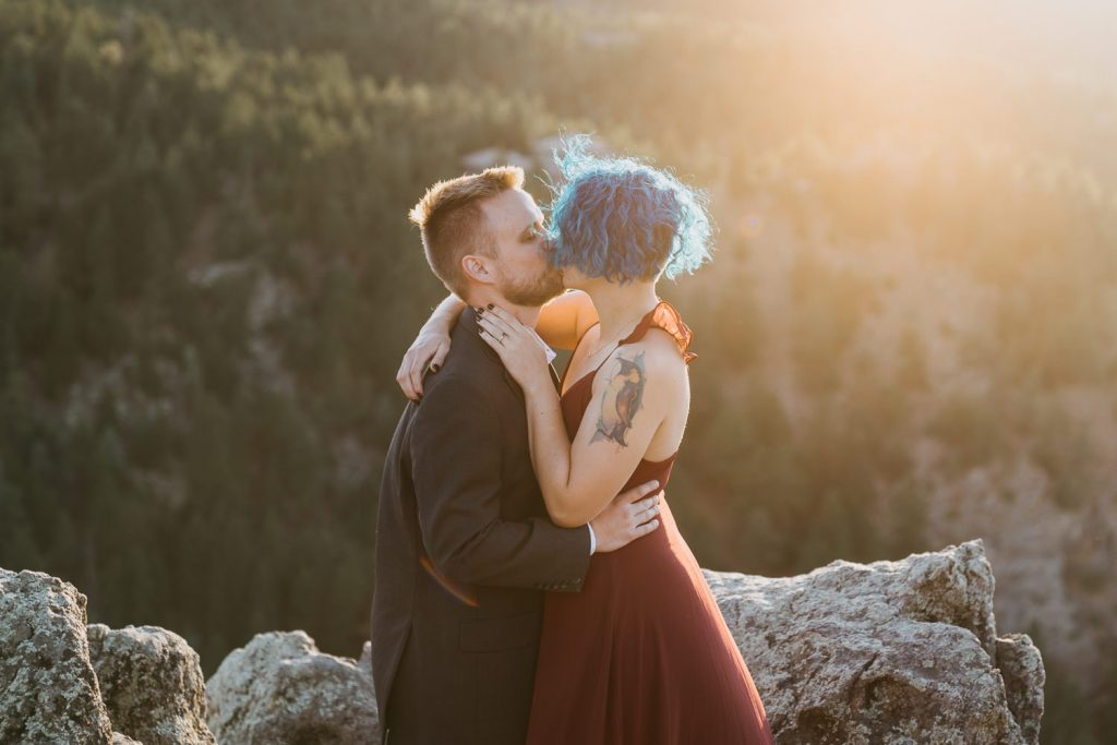 The sunset perfectly lights them, I never ask my couples to kiss they do it all on their own