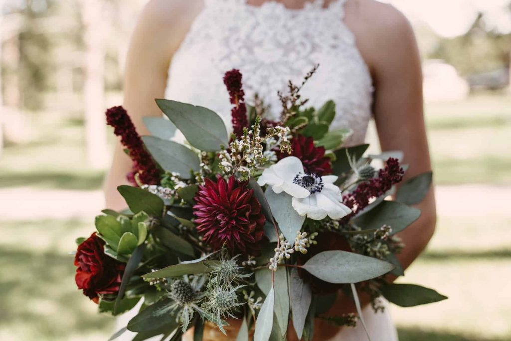 Details of summer bridal bouquet
