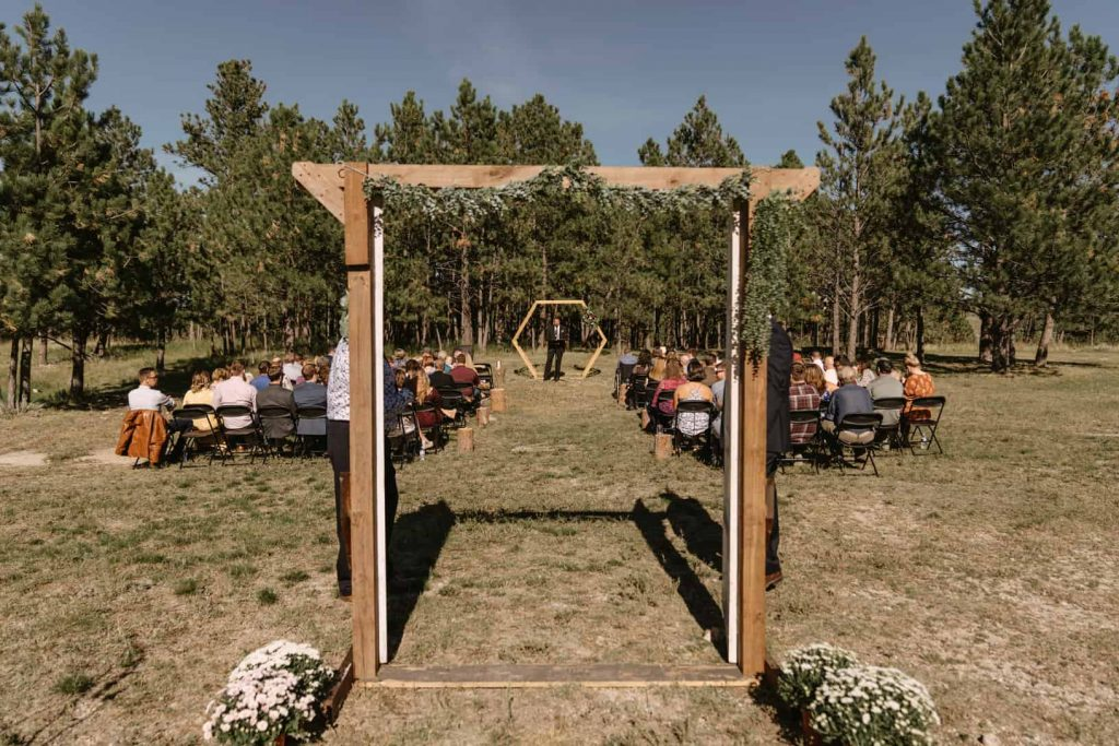 Wedding ceremony location at Woodlands Reception and Rentals in Piedmont South Dakota