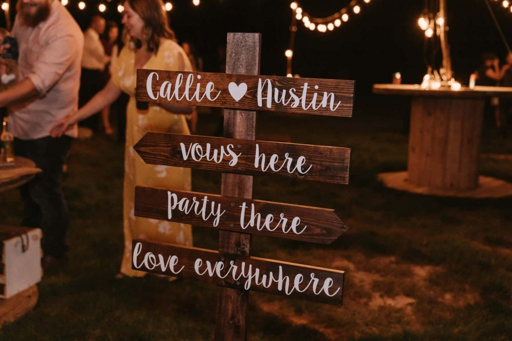 Picture of the adorable sign the bride made herself, 'vows here, party there, love everywhere'
