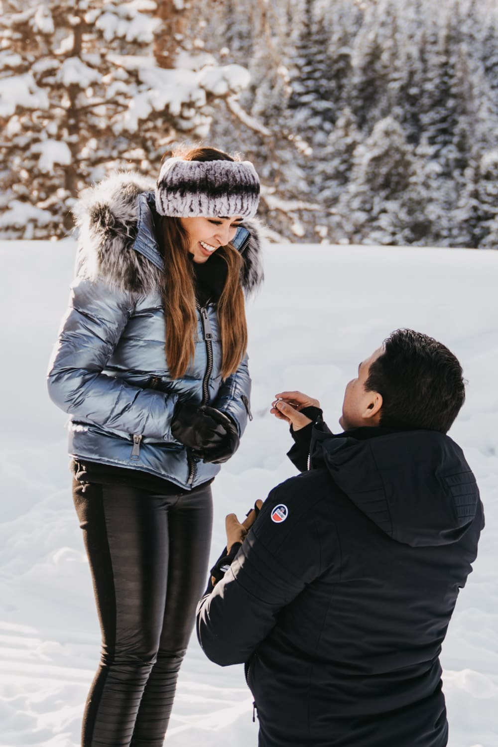 Julio gets down on one knee in the snow to ask his girlfriend to marry him for this sleigh ride proposal in Breckenridge