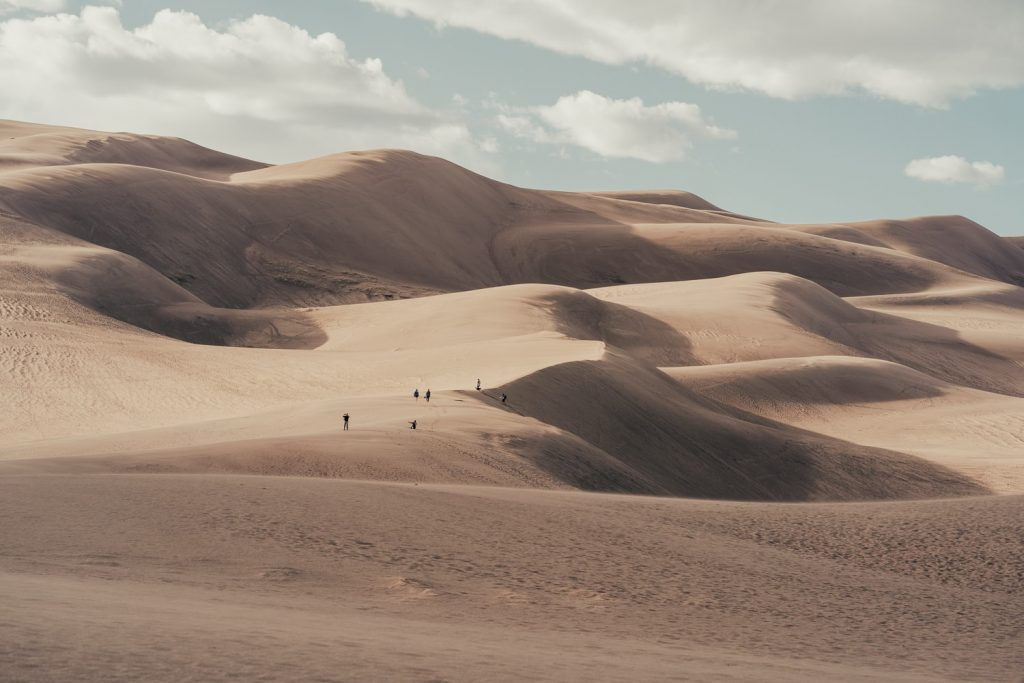 The towering sand dunes in Great Sand Dunes National park make humans look very small if you take the photo just right. This photo truly shows the scale of the sand dunes compared to humans. One of my favorite places to take couples to elope in Colorado.