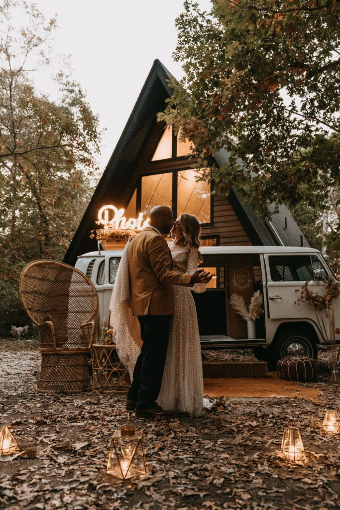 Maggie and Alex had a romantic elopement in the woods, and this is them having their first dance by candle light