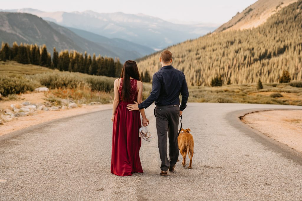 Misty and Cameron walk down the road at the top of Guanella Pass with their dog, mountain views in the background.