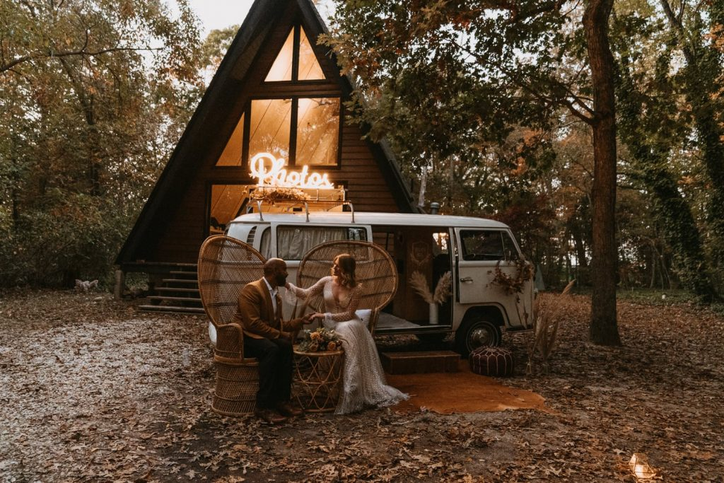 Maggie and Alex eloped in the woods in front of their cozy AirBNB rental cabin