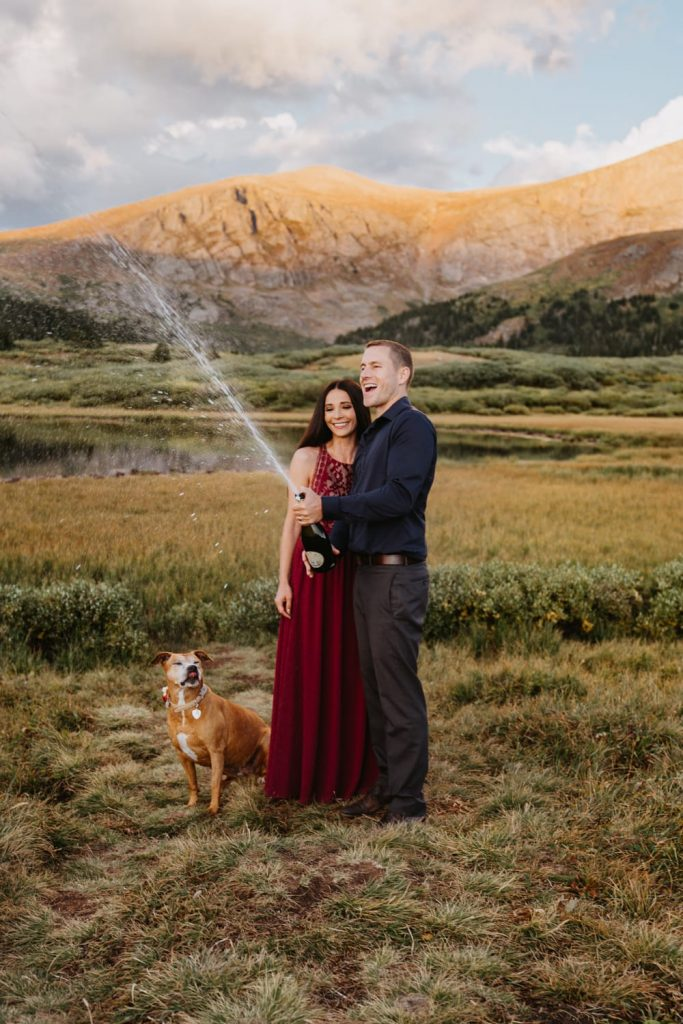 Couple celebrates eloping at the top of Guanella Pass with a champagne explosion and their dog right at their feet. It was the perfect sunset and warm summer night.