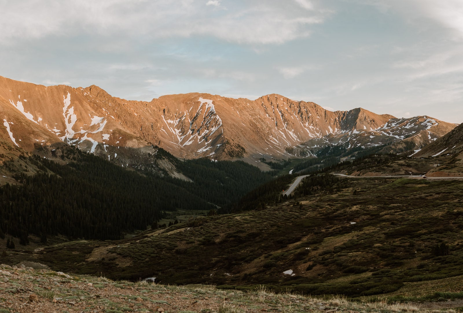 Photo of Loveland Pass at sunset in the June timeframe