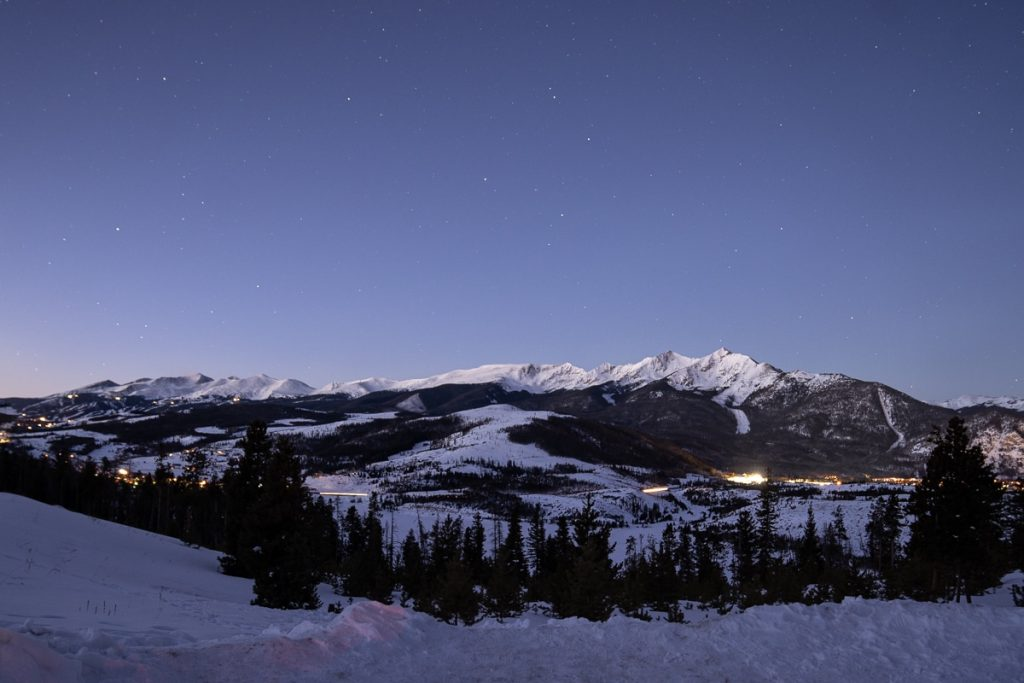 The stars still sparkled as the sun rose over Breckenridge, Colorado during the start of this winter Sapphire Point Elopement