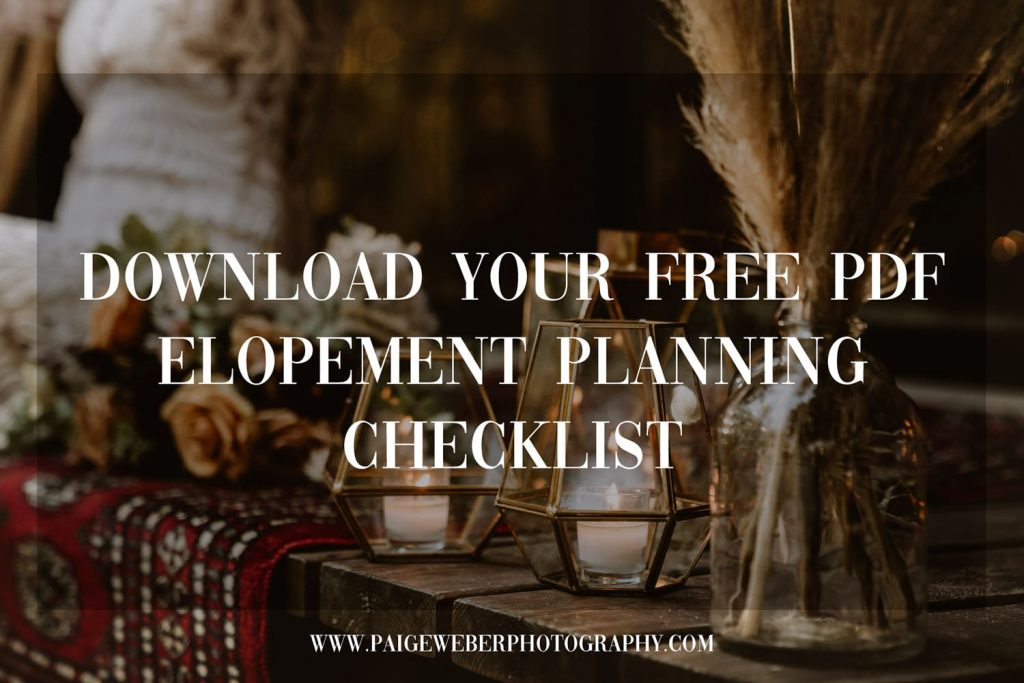 Download your free PDF elopement planning checklist by clicking this image
