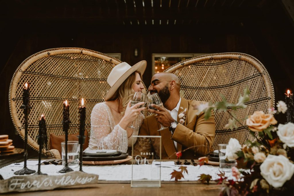 This page details elopement packages and pricing, but first check out this image of a couple enjoying their styled dinner celebration after their elopement in Colorado